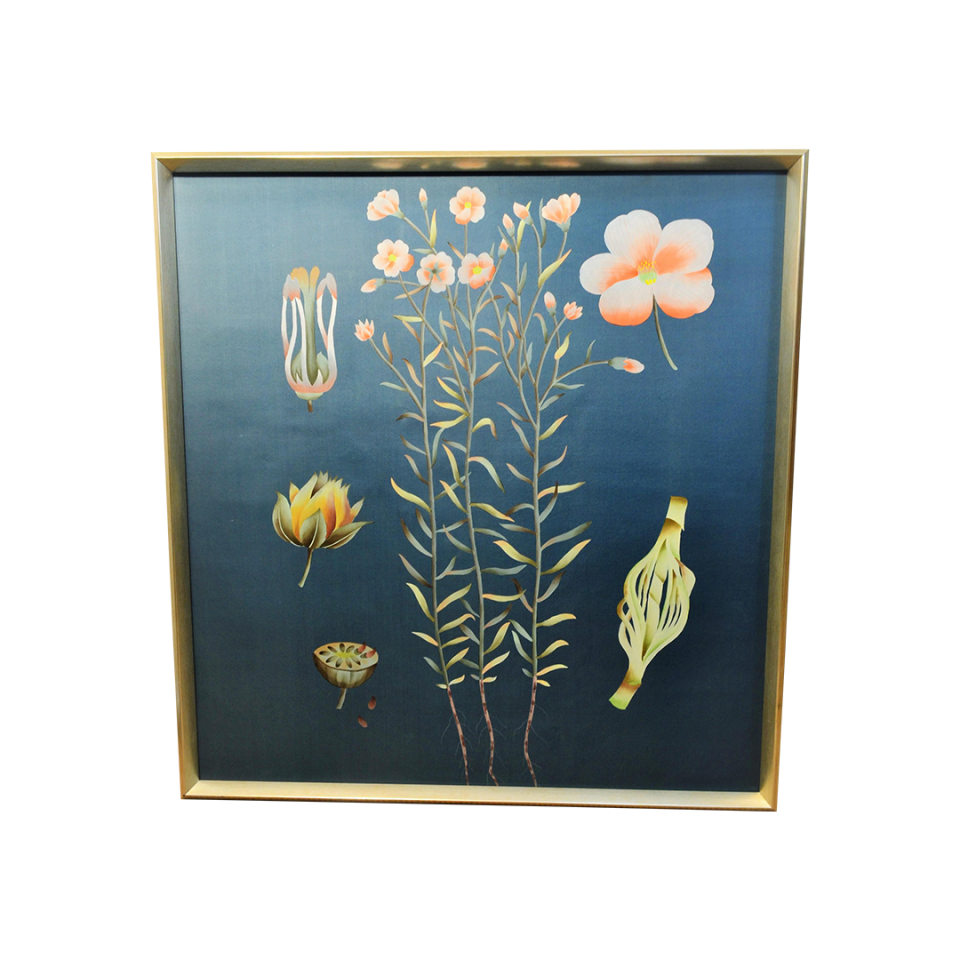 Bungalow 5 Auer Framed Silk Panel Dark Blue